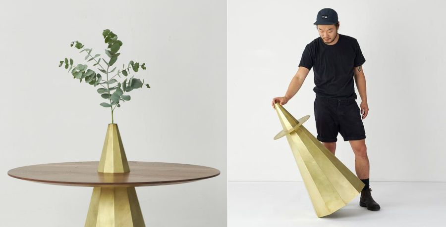 Tom Fereday Designs Wood and Brass Table for Studio Kyss