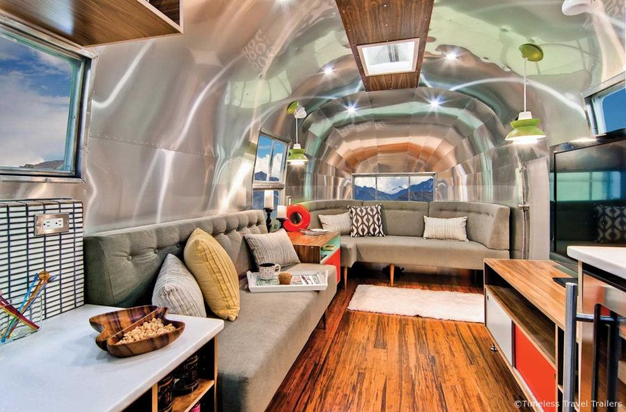Renovated Vintage Airstream with Mid-Century Modern Interior Design
