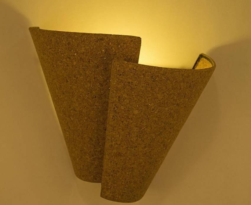 Eco-friendly Cork Wrap Wall Light by Oorjaa