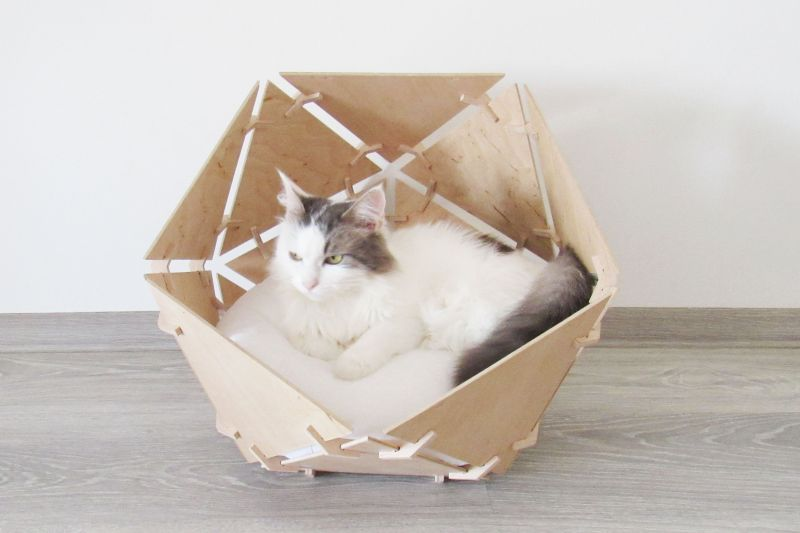 Modern Wooden Cat Bed