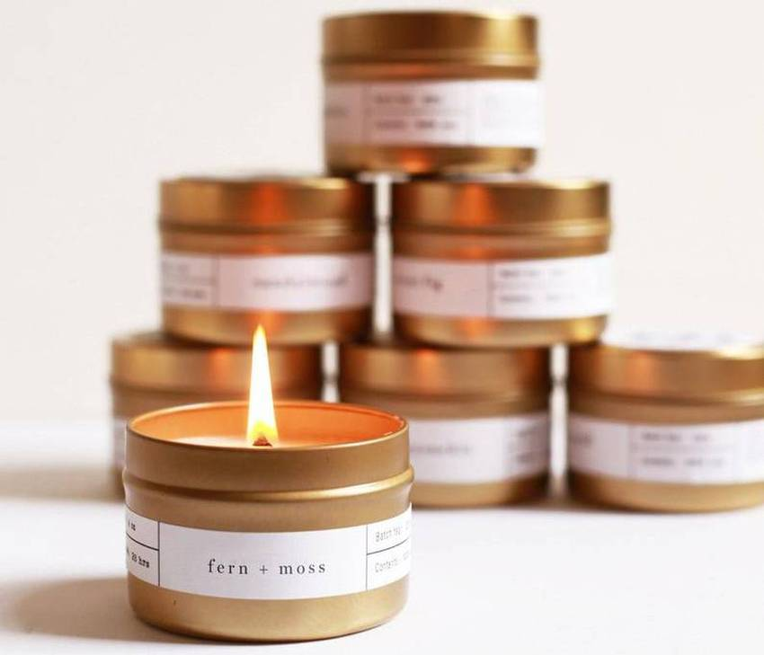 4 Gold Travel Soy Candles