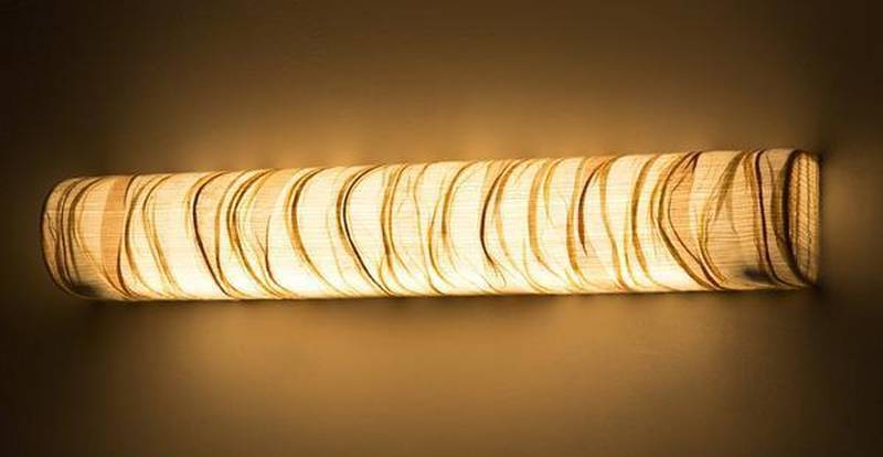 Eco-friendly Tube Cover Curve Woven Wall Lamp by Oorjaa