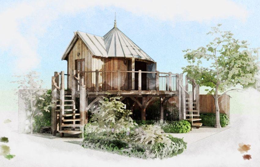 blue forset treehouse