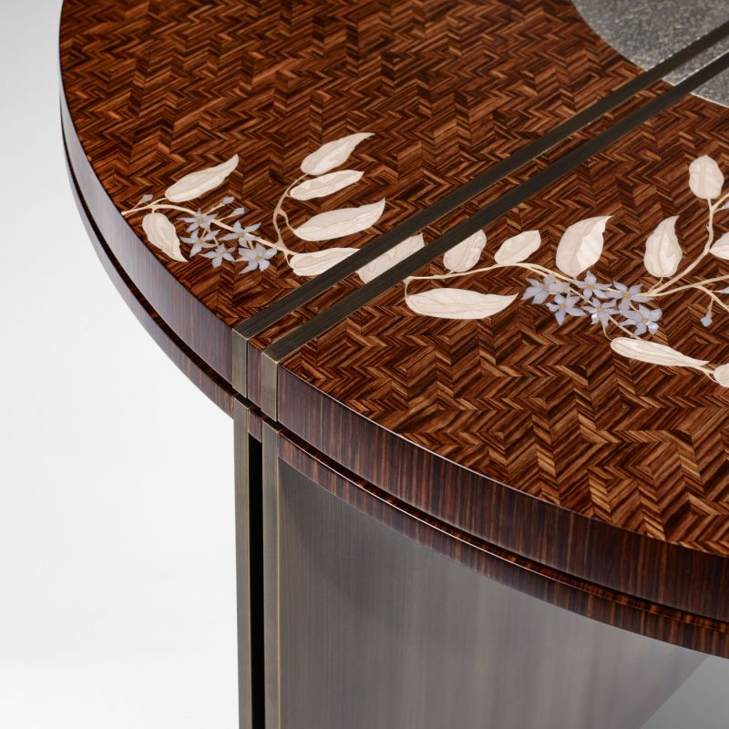 Alba Coffee Table by LINLEY Features Ornate Marquetry of Jasmine Flowers