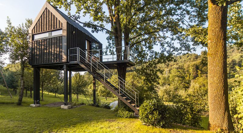 This Prefabricated Treehouse in Switzerland is Dream Home for Two Friends