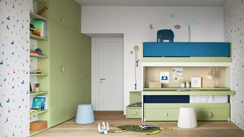 Skid sliding Bunk Bed by Nidi is Perfect for a Shared Kids' Room
