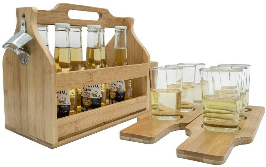 Sorbus Wooden Bottle Carrier with Opener
