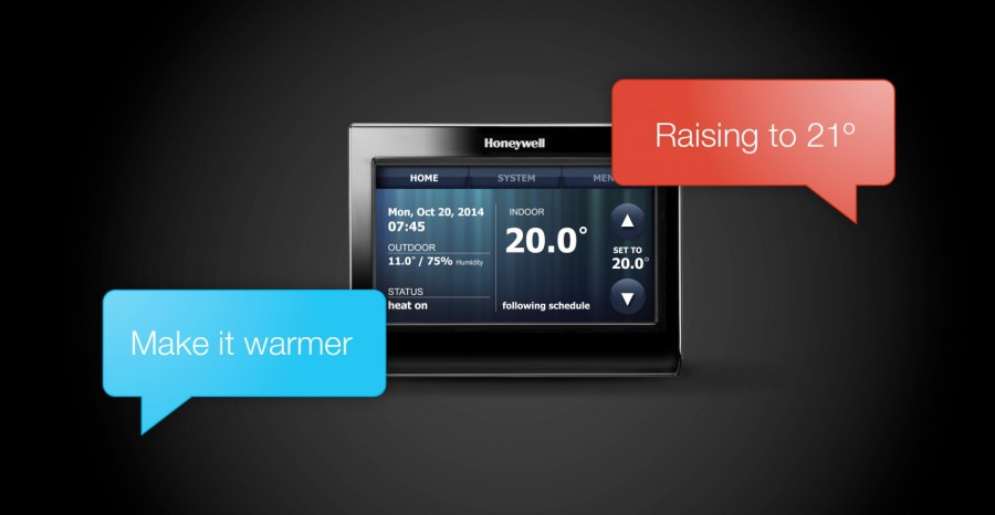 voice command to Honeywell thermostat