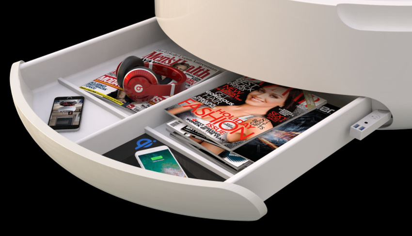 Coosno Smart Coffee Table with Voice-Controlled Refrigerator