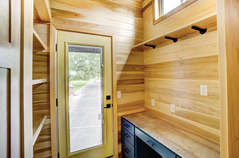 Modern Tiny Living's Serenity Tiny House Features Office at Back Door