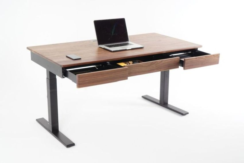 Woolsey Elegant Height-Adjustable Desk has Three Drawers and Wireless Charging