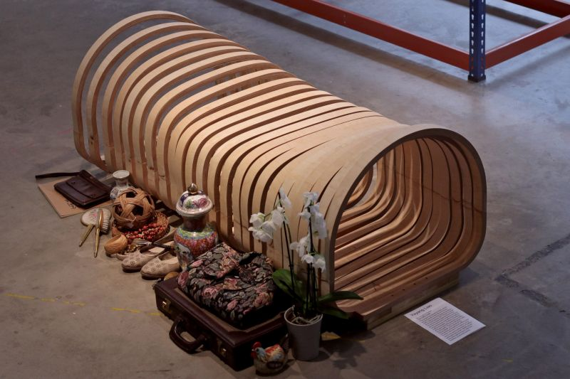 Yeyang Liao Design Coffin Chair that can be Cremated with the Owner