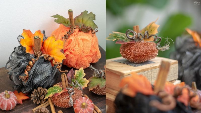 DIY mesh pumpkins for an easy fall decor