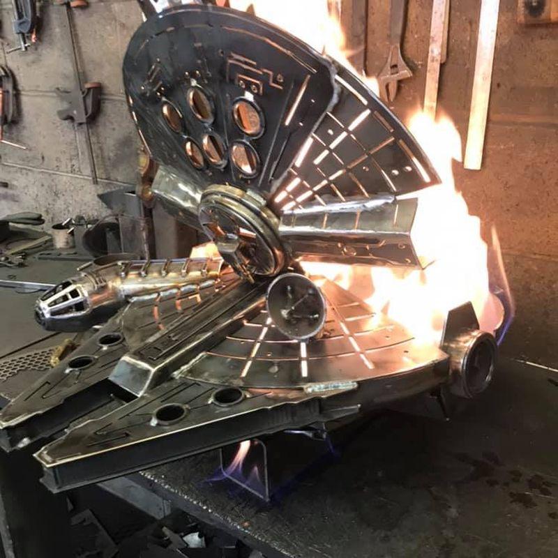 Millennium Falcon fire pit - Burned by Design