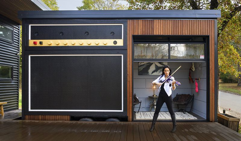 The Rocker is a double tiny house in Arkansas, features a house on foundation and a separate tiny house on wheels