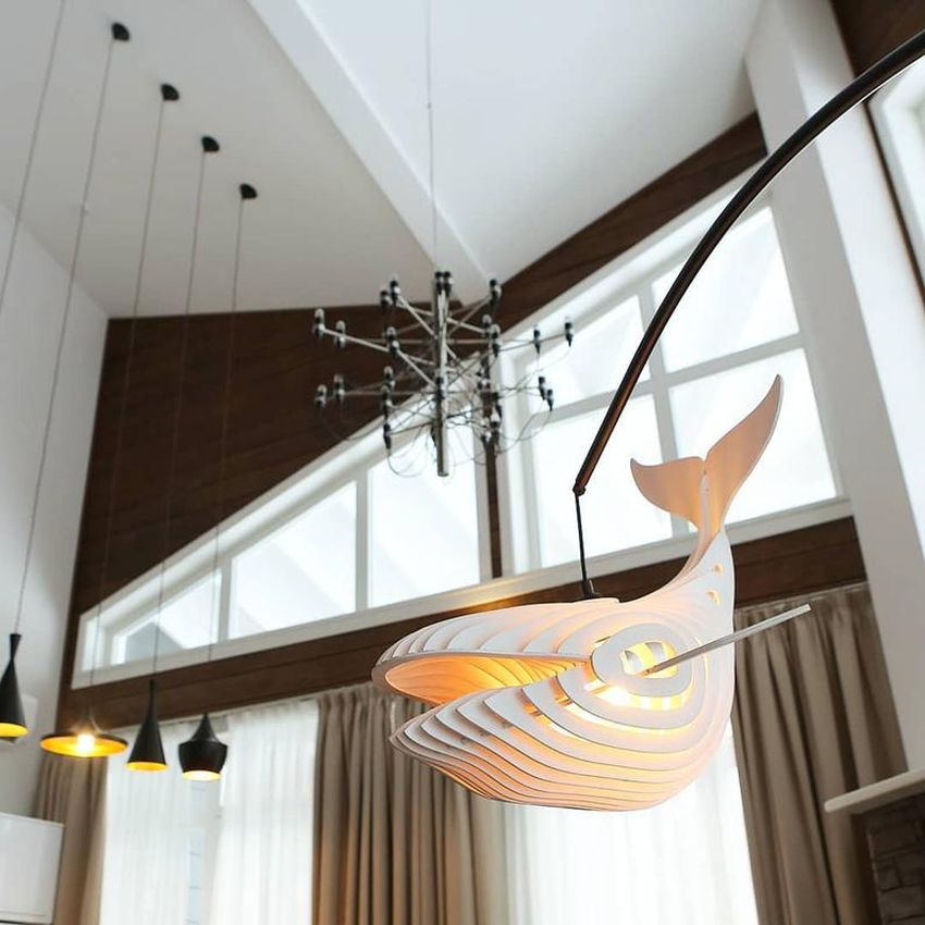 Wooden Whale Lamp