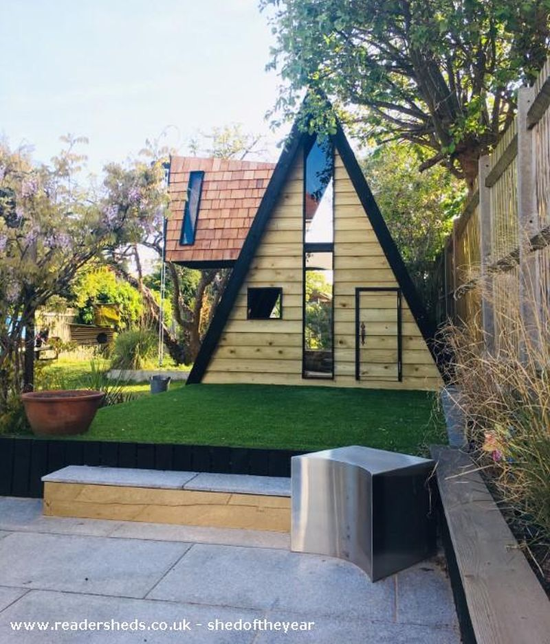 Woody Willow A-frame shed by Tom Prior
