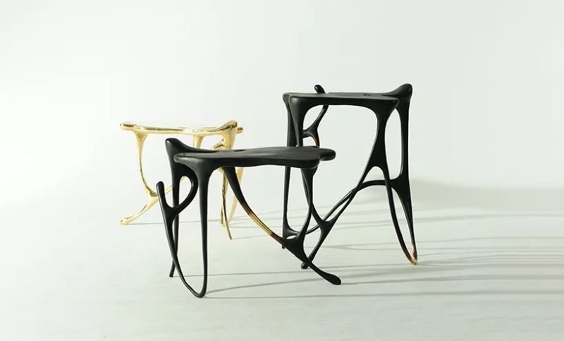 Ink Calligraphy Furniture Mirrors Continuous Flow of Chinese Calligraphic Inscriptions