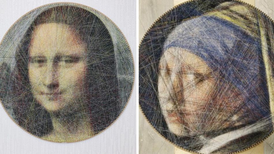 Lady recreates classic works of art with thread using mathematical algorithm