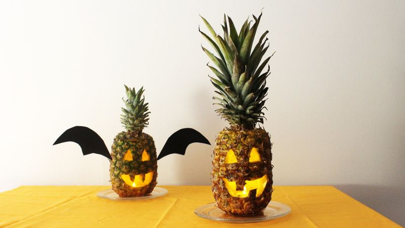 This Halloween Light Pineapple Jack-o-lanterns instead of Pumpkins