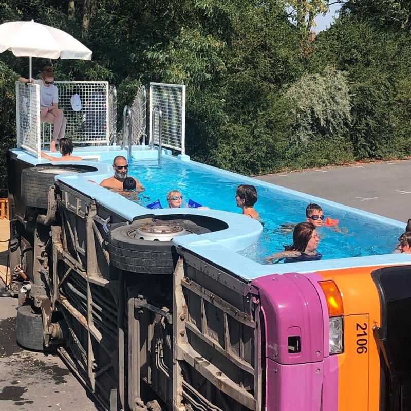 Benedetto Bufalino Turns Retired City Bus into Swimming Pool