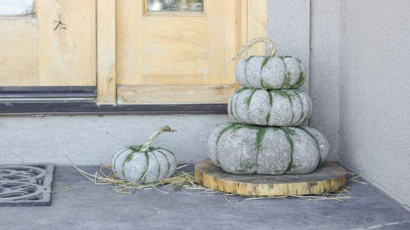 Concrete pumpkin topiary