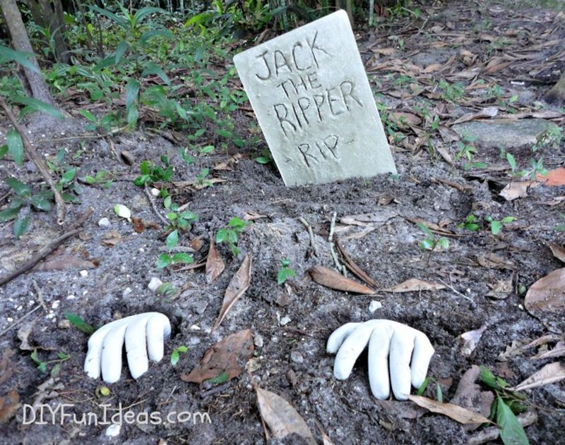 Concrete tombstones and hands