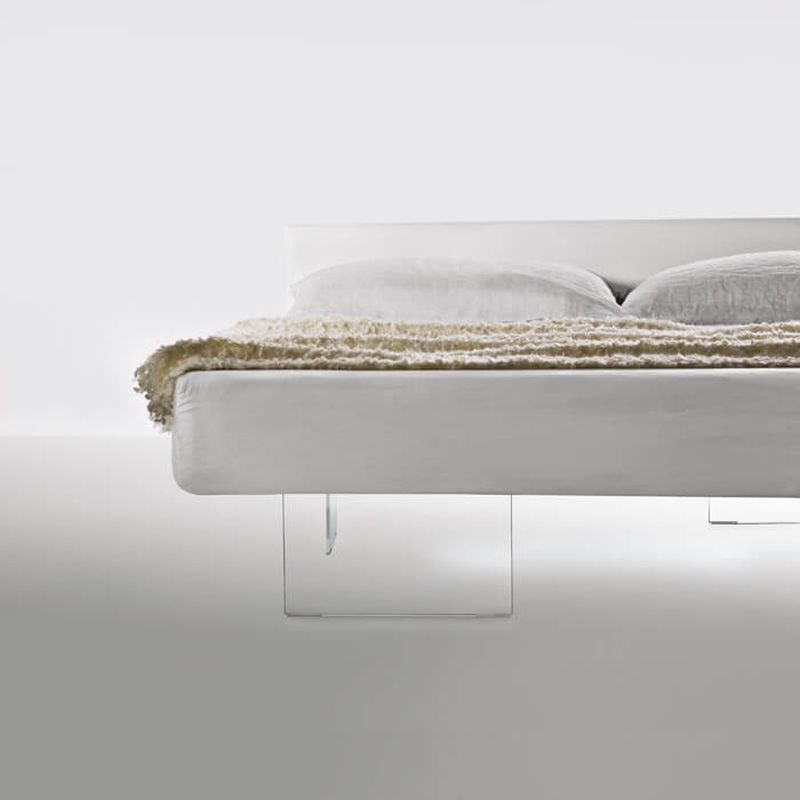 LAGO Air Bed with Tempered Glass Legs Appears Floating in Air