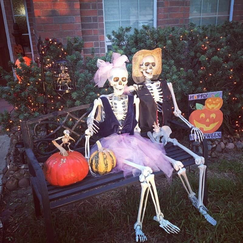 Skeleton resting on bench