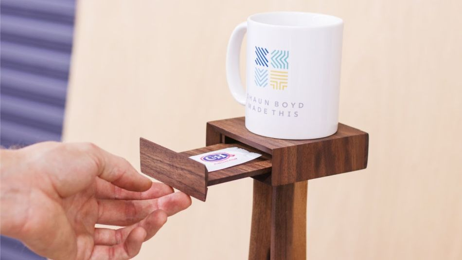 Shaun Boyd Makes Collapsible One Cup Coffee Table with Small Drawer