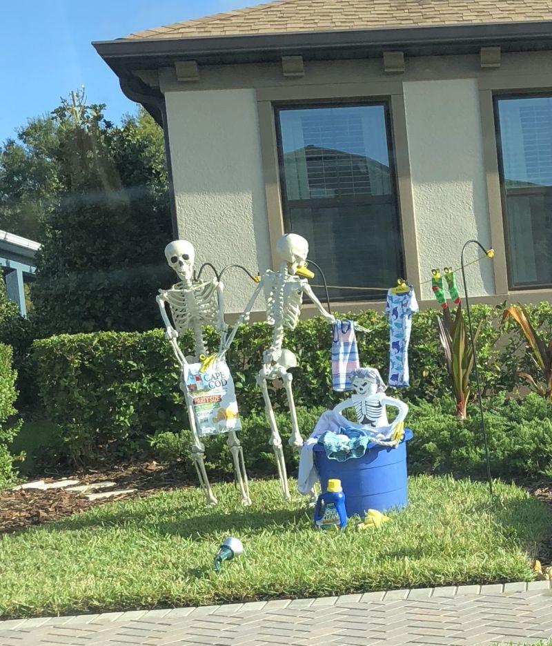 Skeleton family Halloween display