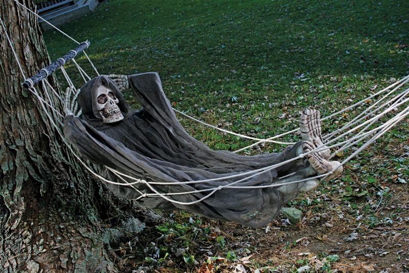 Skeleton in a hammock