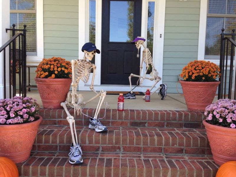 Skeleton joggers at front door