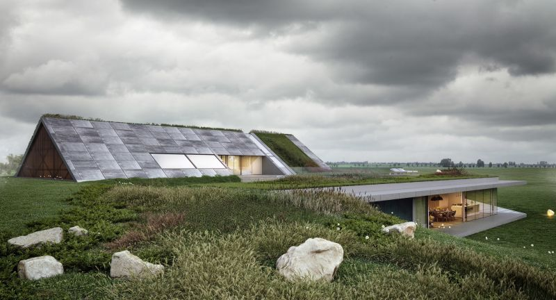This Green-Roofed House in Warmia, Poland Blends into Surroundings