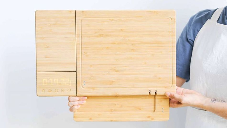 Image result for A smart cutting board with a built-in scale, timer, and knife sharpener