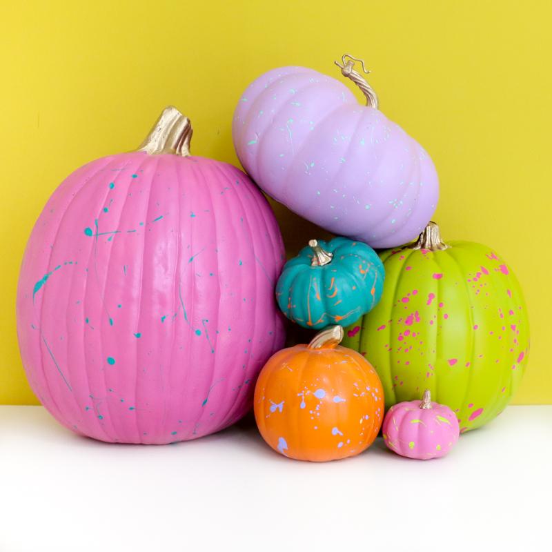 90s neon splatter painted pumpkins