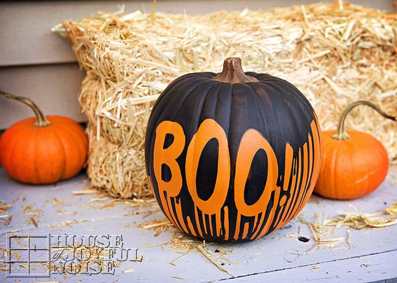 Boo painted Halloween pumpkin decorations