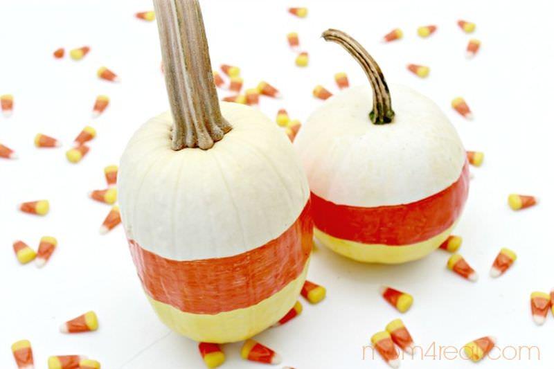 Candy corn painted pumpkin