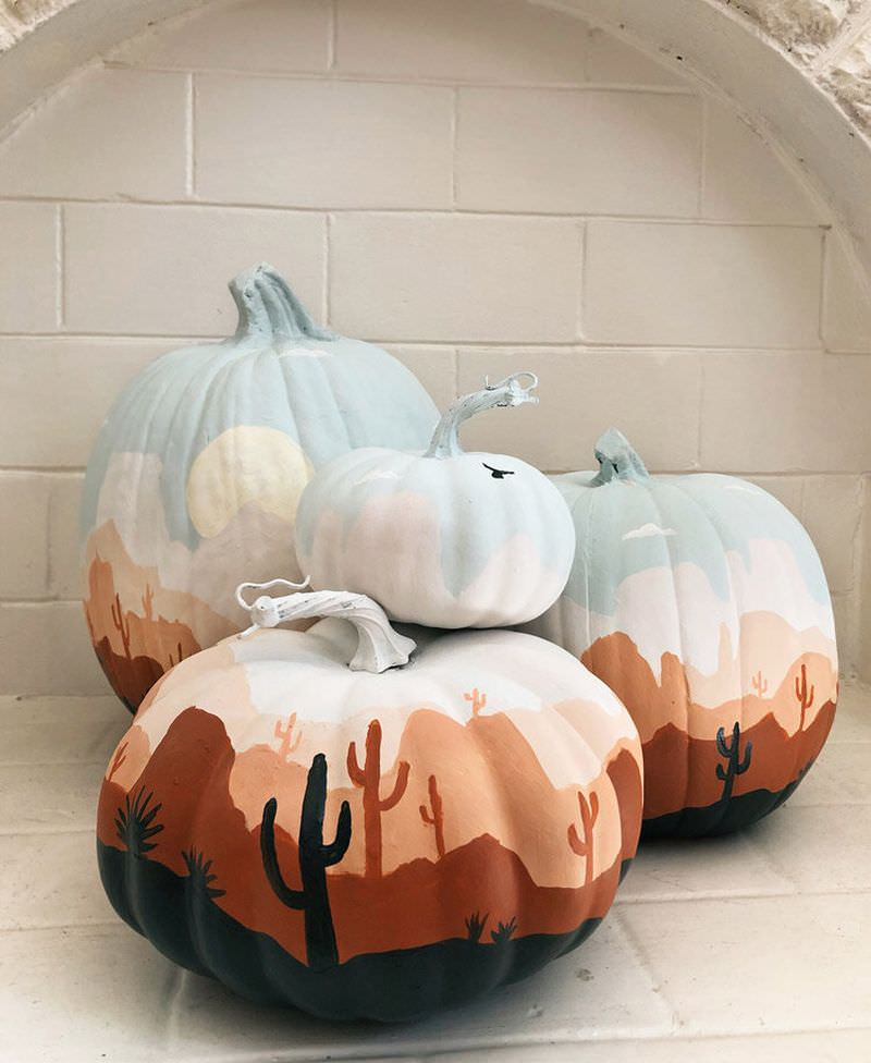 Desert Oasis painted pumpkins