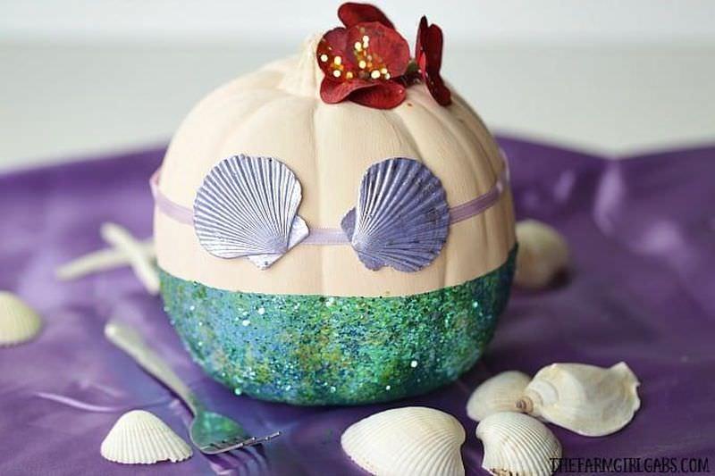Disney-inspired mermaid painted pumpkin