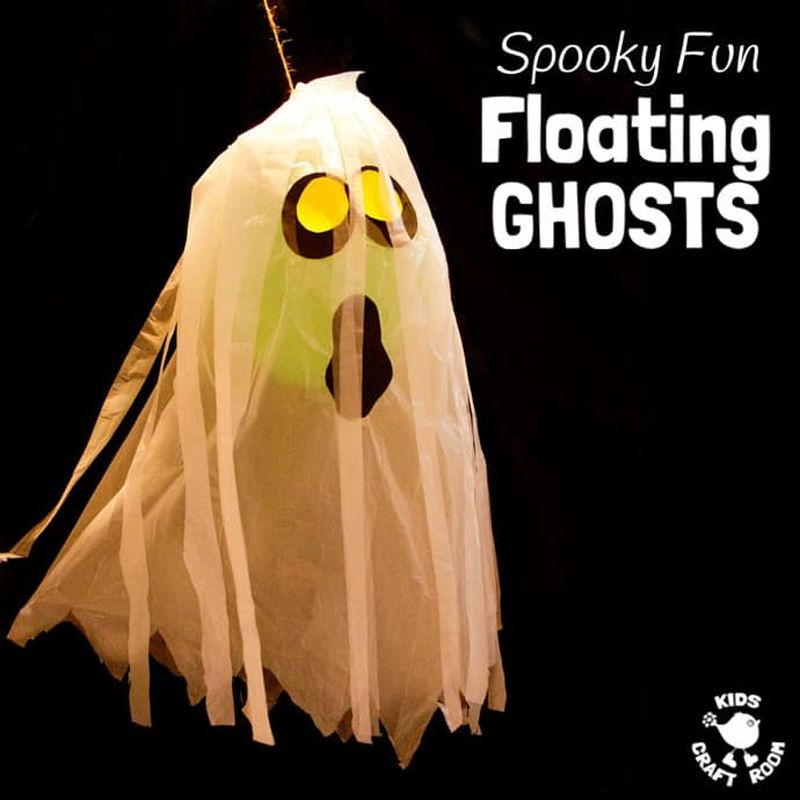 Paper cup floating ghost Halloween craft for kids