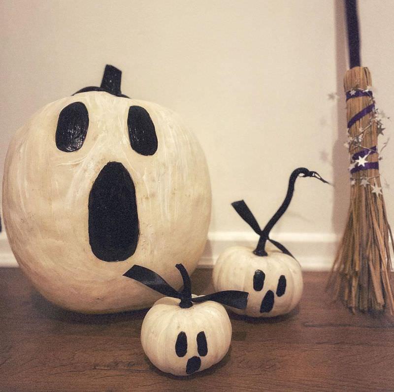 Ghost painted pumpkins