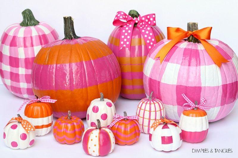 Gingham painted pumpkin