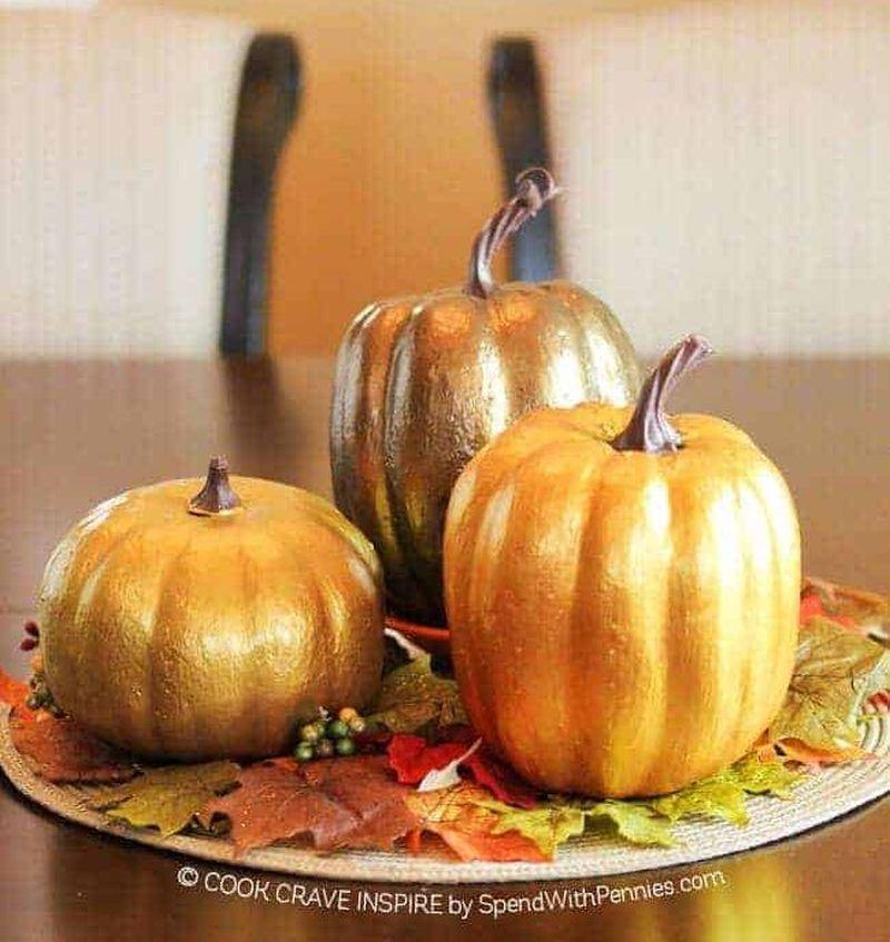 Gold painted pumpkin décor