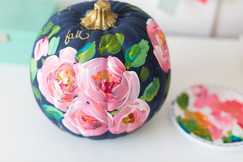 Hand-painted floral pumpkin