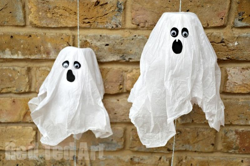 Hanging paper cup ghosts