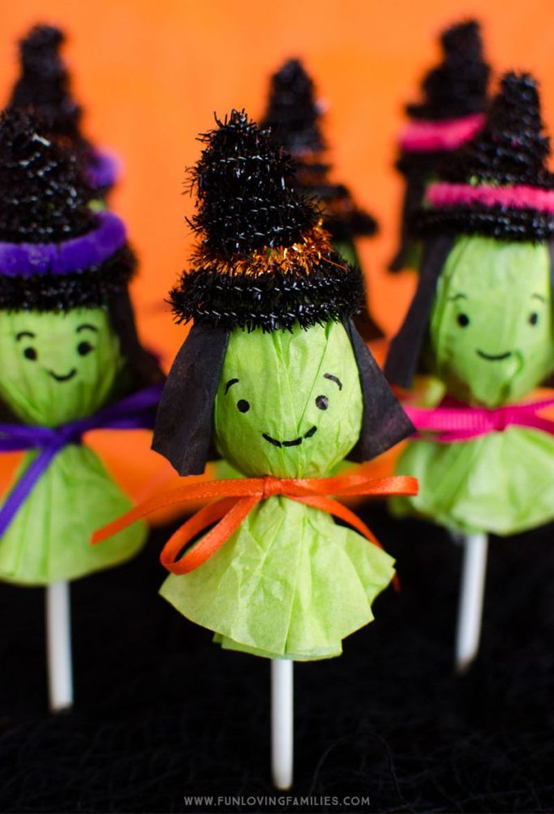 Lollipop witches Halloween crafts for kids