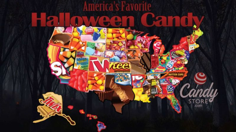 Map for most popular Halloween candy by Candystore.com