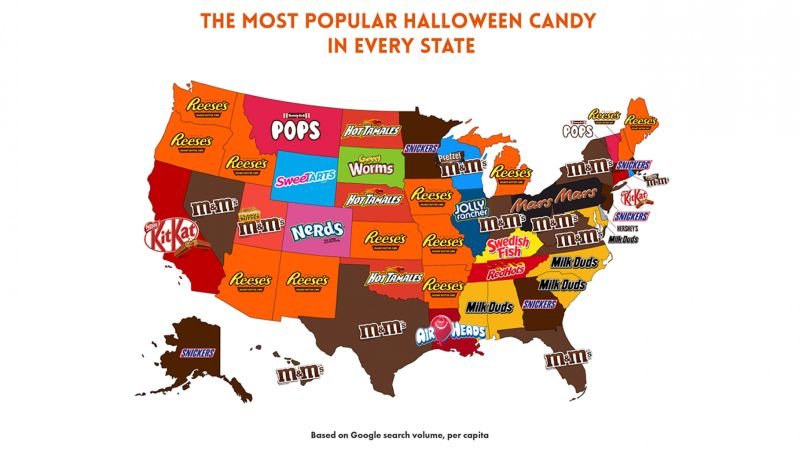 Map for most popular Halloween candy by Bid-on-Equipment