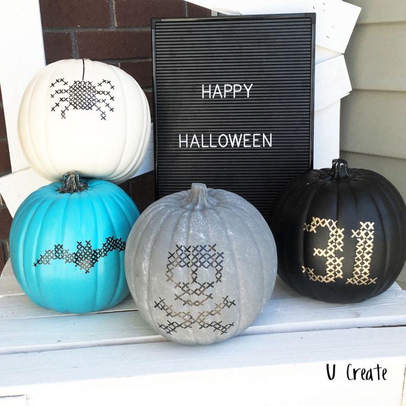 Paint stitched pumpkins